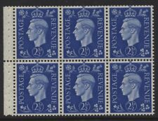 1937 21/2d DARK COLOURS BOOKLET PANE OF SIX WITH UPRIGHT WMK. SG 466c