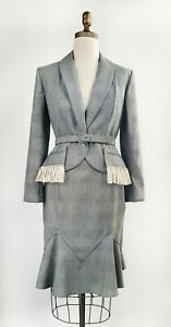 VTG Christian Dior Boutique by John Galliano Fall 1999 Plaid Suit with Fringe 44