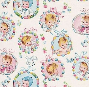 Dollhouse Miniature Nursery Wallpaper Pink & Blue Baby 12 Vintage Print