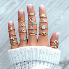 19Pcs Turquoise Midi Finger Ring Set Vintage Punk Boho Knuckle Rings Jewelry New