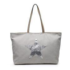 Large Pale Grey Bag Silver Star Canvas Bags Ladies Holiday Beach Work Gym Zip