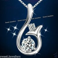 925 Silver Pendant Necklace Chain Xmas Jewellery Crystals Gifts For Her Women