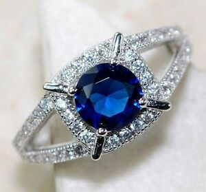 1CT Blue Sapphire & White Topaz 925 Solid Sterling Silver Ring Jewelry Sz 7, M4