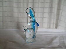 Art glass blue cat figure 8""