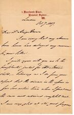 Signed Letter of Sir James Paget, English Surgeon & Pathologist  - Oct 7, 1887