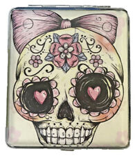 Eclipse Candy Skull Bow Leatherette Crushproof Metal Cigarette Case 100s 3101L20