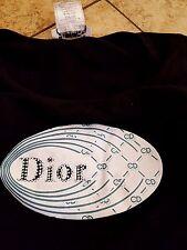 Sz 8 Christan Dior T-Shirt Tee Women's Casual Black Logo Jewel Bling Top