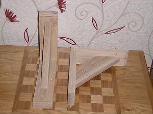 215 x 255 mm Pair Of Solid Wood (Oak) Gallows Wooden Shelf Support Brackets