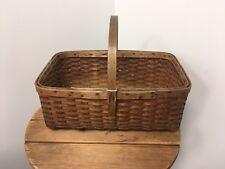 Antique B. G. HIGGINS Basket Pounded ASH Sm Market West Chesterfield MASS.