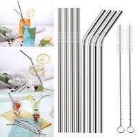 4 Pcs Stainless Steel Drinking Straw Reusable Long Metal Straws + Cleaner Brush