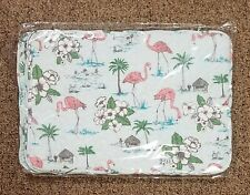 """New listing Pink Flamingo - Set of 4 Quilted Placemats - Reversible 12""""x17"""" Tropical Beach"""