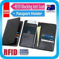 Travel Wallet RFID Blocking Anti Scan Long Passport Holder Synthetic Leather
