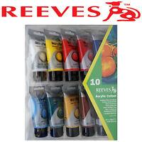REEVES ACRYLIC PAINT SET 10 x 75ml TUBES ART ARTIST SATIN WHITE RED BLUE YELLOW