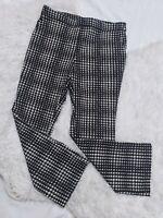 Jules & Leopold Black White Stretch Pants Medium Ankle Cropped Flat Front Pocket