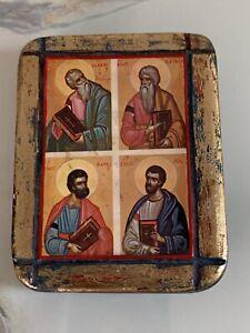 Wooden Plaque Of St Mark, St Luke, St Matthew, St John - By Santa Fe Artist