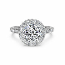 14K White Gold Size 6 7 8.5 1.15 Ct Round Solitaire Real Diamond Engagement Ring