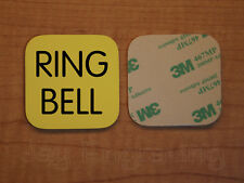Engraved 3x3 RING BELL Plastic Tag Sign Plate   Yellow Doorbell Plate Plaque