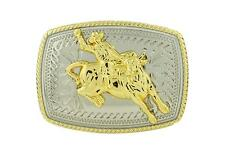 Rodeo Bull Rider Western Cowboy Gold Color Rectangle Belt Buckle