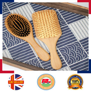 Eco-friendly Natural Bamboo Paddle Scalp Massage Hair Straight wooden Hair Brush