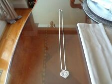 VINTAGE ITALY DIAMOND CUT STERLING SILVER NECKLACE -BEAUTIFUL STERLING HEART PEN