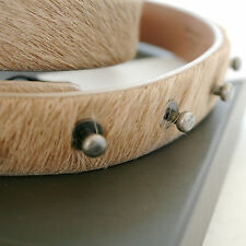 RICK OWENS unisex tan pony hair skin cowhide fur leather studded belt sz.L NEW
