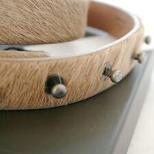 RICK OWENS unisex tan pony hair skin cowhide fur leather studded belt sz.L NEW