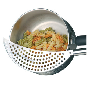 KitchenCraft Stainless Steel Half-Moon Pan Strainer / Pot Drainer