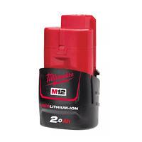 "Milwaukee M12 B2 Batterie 12v 2.0ah Original Milwaukeeredlink """