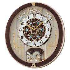 Seiko qxm291b marrón Analógico Musical Melodías en movimiento Antiguo Reloj De Pared Nueva