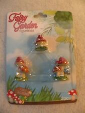 New listing Fairy Garden Mini Figures 3 Piece Set Mushrooms Nib