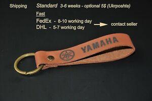 Yamaha keychain keyring leather. Personalized keychain.