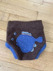 Upcycled wool diaper cover soaker shorts shortie - Small 3-6 Months