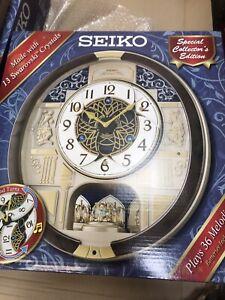 NEW Seiko Melodies in Motion Wall Clock 2021 Swarovski Crystals QXM390BRH