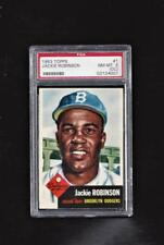 ⚾ 1953 TOPPS #1 JACKIE ROBINSON PSA 8 Centered L/R +1952 Topps Mickey Mantle RP