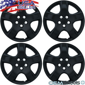 "4 NEW OEM MATTE BLACK 15"" HUBCAPS FITS KIA SUV CAR COUPE CENTER WHEEL COVER SET"