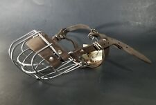 """Dogs My Love Metal Wire Dog Muzzle /w Leather Straps 11"""" Cir. & 2.25"""" Length"""