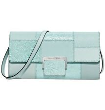 Michael Kors Cynthia Large Clutch Embossed Leather Celadon $228 NWT