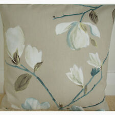"Magnolia Tree Cushion Covers 16x16 Duck Egg Blue Ivory Taupe Beige 16"" Covers"