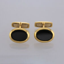 Black Onyx Cufflinks 18ct Yellow Gold