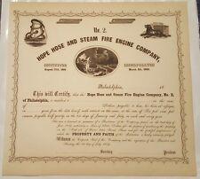 Hope Hose and Steam Fire Engine Company Bond Stock Certificate Philadelphia PA