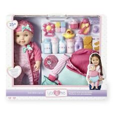 NEW You & Me Pink 16 Inch Baby Doll with Carrier Playset - Blue Eyes