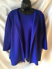 TanJay Jacket and Shell Size 12 Large Royal Blue 3/4 Sleeve Full Zip Textured