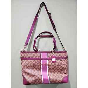 Coach heritage stripe diaper bag with changing mat