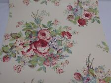Vintage SEABROOK Cabbage Rose FLORAL Wallpaper 1 roll New OLD Stock SHABBY CHIC