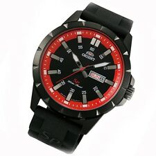 ORIENT Uhr Sporty red Quarz Herrenuhr Kautschuk Tag Datum gun color FUG1X007B9