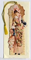 Viktorianische Lady im Rosenkleid mit Sonnenschirm Lesezeichen Goldkordel 02384