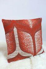 "Amazing Retro Fabric Cushion Cover 16x16"" Original 60s/70s Vintage Geometric Red"