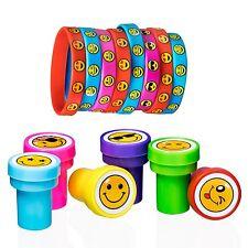 Emoji Smile Emoticon Silicone Bracelets (pack of 8) and 6 Emoji Smiley Stamps