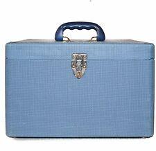 Old Vintage Cosmetic Case 1950 Pedros Luggage traincase Textured Blue Tweed