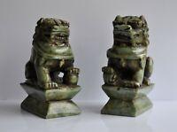 Chine - Paire de sculptures en jade - Chiens de fô - Fin XIXème
